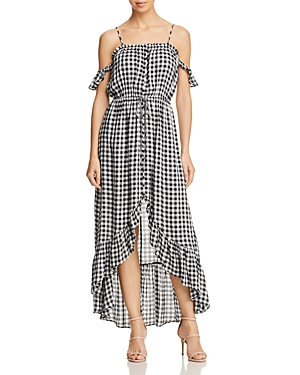 Lost + Wander Day Trip Ruffled Cold Shoulder Gingham Dress Black White qfBOMhk