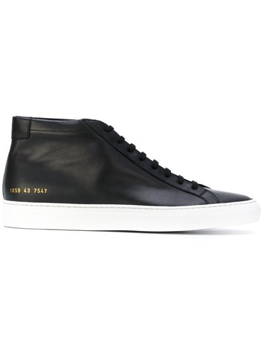 Common Projects Original Achilles Hi Top Sneakers Calf Leather Leather Rubber Black W6Wo9wl0