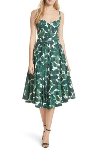 Milly Print Poplin Midi Dress Emerald QEauqvA7u7