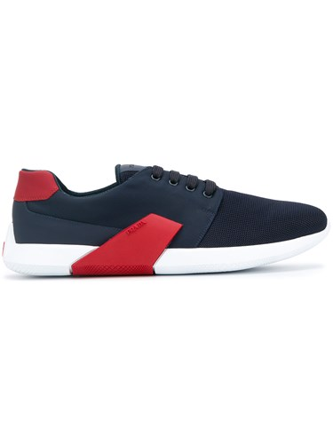Prada Low Top Sneakers Leather Polyamide Polyimide Rubber Blue vYUZaA4sS
