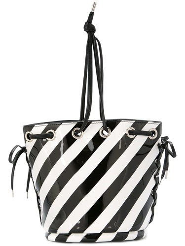 G.V.G.V. Striped Bucket Style Shoulder Bag Black sLhsD26