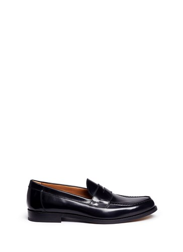 ANTONIO MAURIZI Cordovan Leather Penny Loafers Black G4VcFbb