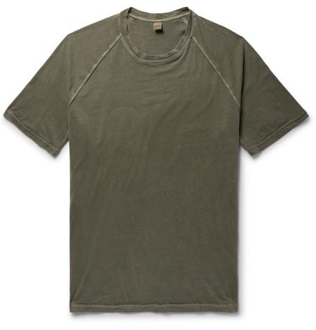 Slim Fit Washed Cotton Jersey T Shirt Army Green