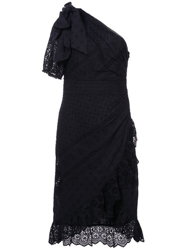Ulla Johnson Gwyneth Asymmetric Ruffle Trim Dress Black mo4bFhC2a0