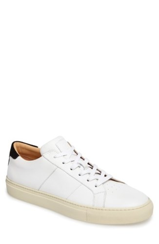 GREATS Men's Royale Vintage Low Top Sneaker White Cream Black Leather iWUJX5ic