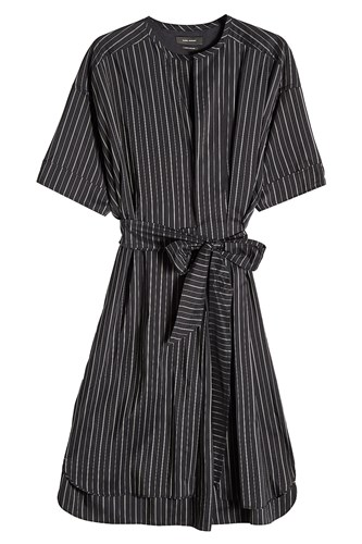 Striped Isabel Dress Marant Black With Silk SPqZ6P
