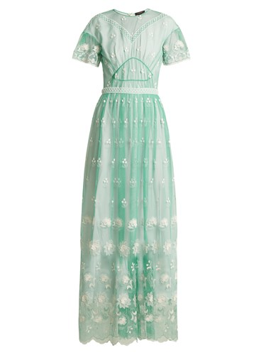 Burberry Round Neck Embroidered Tulle Dress Light Green vt72cfUYdJ