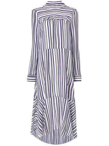 Schumacher Dorothee Silk Sleeved Long Dress Striped FHHqRwv8