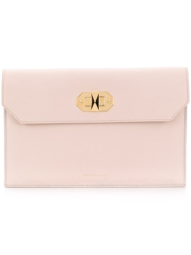Alexander McQueen Twist Lock Flap Clutch Nude And Neutrals S3OQut