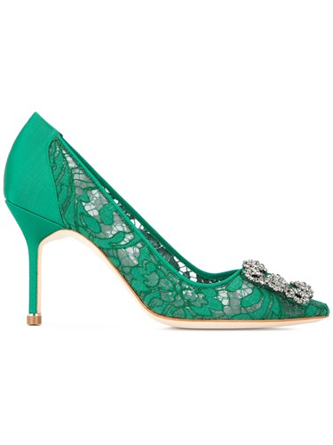 Manolo Blahnik Hangisi Lace Pumps Green MFGPV