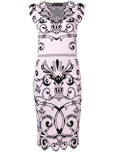 Purple And Pink Dress Jacquard Baroque Versace pvUzqY84Y