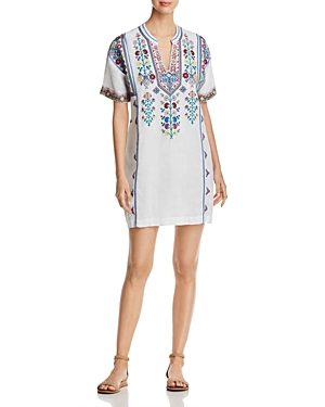 Johnny Was Clover Embroidered Tunic Dress White Mhkrbk