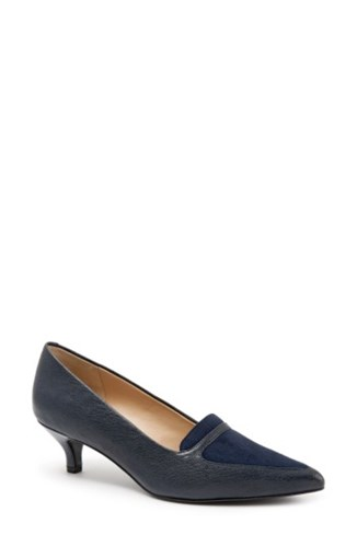 Trotters Women's 'Piper' Pointy Toe Pump Navy Leather udmgSLpi