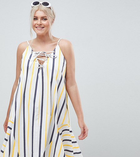 Asos Design Curve Stripe Swing Trapeze Midi Sundress With Lace Up Back Multi fQkiRFdC7
