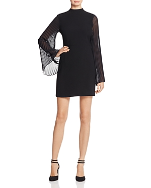 Cupcakes & Cashmere Yasmina Pleated Sleeve Dress Black hBV1fIi