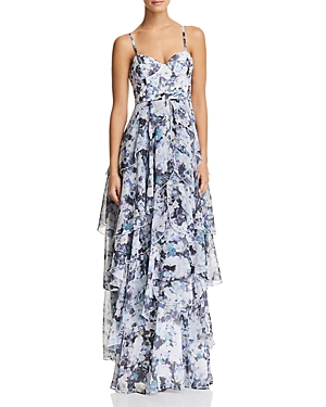 Fame & Partners The Catherine Tiered Floral Gown Secret Garden Print foqgYFAFd