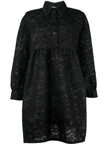 MSGM Lace Shirt Dress Black WDHP9DyOY