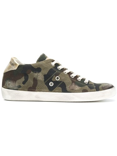Leather Crown Camouflage Print Sneakers Green EHcxPmbZa
