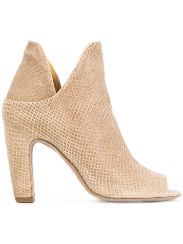 Ankle Open Nude Boots Neutrals Creative Calf Officine Toe Leather Leather fxw5Cgyqt