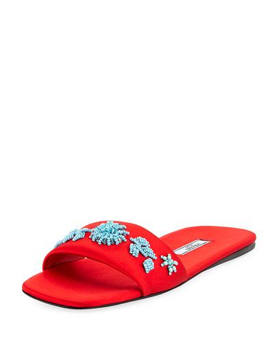 Prada Beaded Satin One Band Flat Slide Sandal Red h80xkU