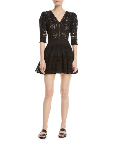 LoveShackFancy Paige V Neck 3 4 Sleeves Broderie Anglaise Cotton Mini Dress Black a1QvC
