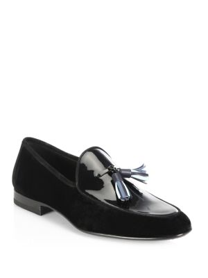 Saks Fifth Avenue Collection By Magnanni Multi Tassel Velvet Evening Loafers Black eHQTUEzB