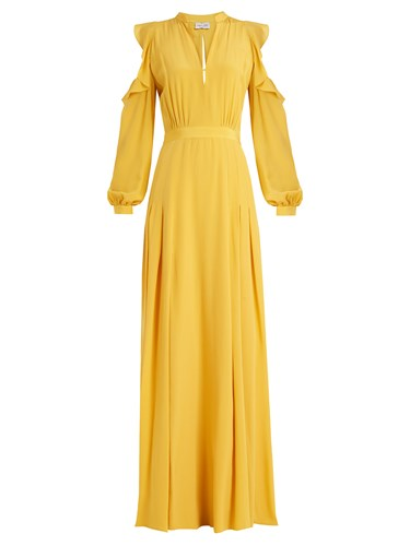 RAQUEL DINIZ Ava Cut Out Shoulder Silk Crepe De Chine Gown Yellow iJOAp