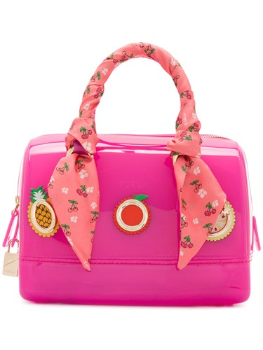 Furla Appliqued Candy Tote Pink And Purple GMMTJFb