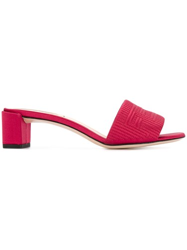 Fendi Embossed Logo Sandals Red wMQbJas