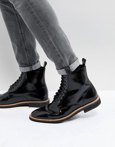 Asos Lace Up Boots In Black Leather Black lEQYYauV