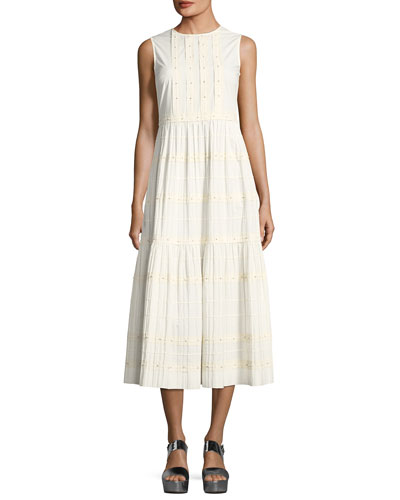 RED Valentino Long Tiered A Line Cotton Dress Ivory kk0FtGXQp2