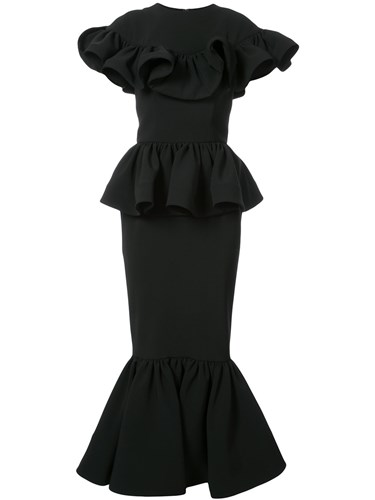 Christian Siriano Ruffled Peplum Dress Black SDvv0cL