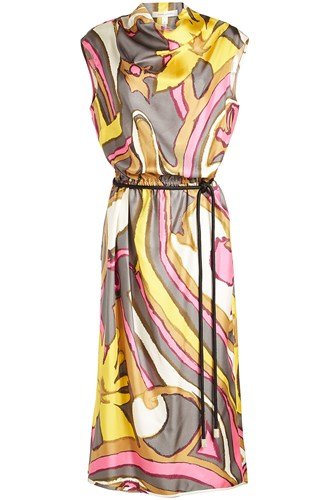 Marc Jacobs Draped Cowl Neck Silk Dress Multicolored erwfDw6k