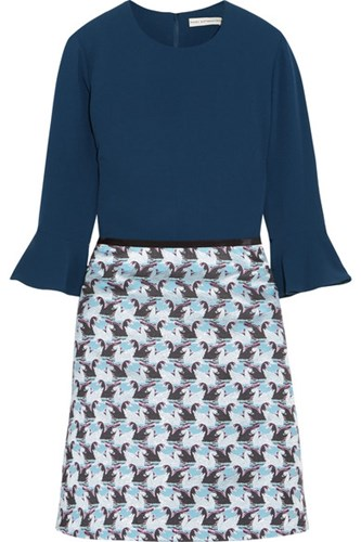 Mary Katrantzou Ligretto Crepe And Jacquard Mini Dress Midnight Blue ZH4C5e7