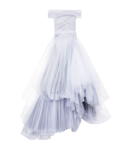 Maticevski Memory Off The Shoulder Tulle Gown White ZLYcsJ