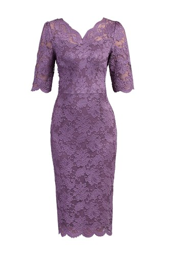 Jolie Moi 34 Sleeve Lace Bodycon Dress Purple 5Ji0l