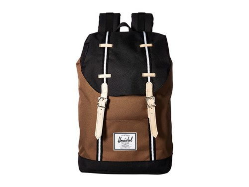 Herschel Supply Co. Retreat Cub Black White Backpack Bags Brown sm1iZAwFJ2