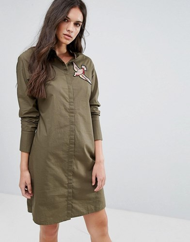 Bird Moda Ivy Dress Applique Green Vero Shirt Hq5wqA