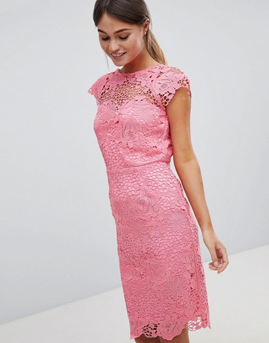 Paper Dolls Lace Dress With Scalloped Back Pink 5WW68