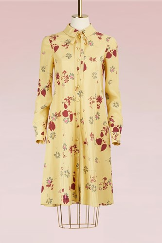 Valentino Flower Printed Long Sleeves Dress Yellow OeG003dFf