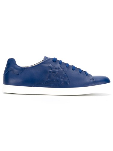 Emporio Armani Lace Up Sneakers Calf Leather Leather Rubber Blue HHR1TCsP7