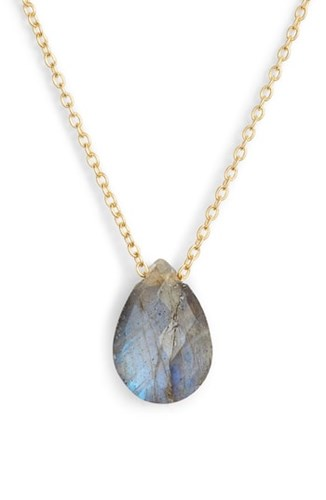 Argento Vivo Stone Teardrop Pendant Necklace Labradorite Gold