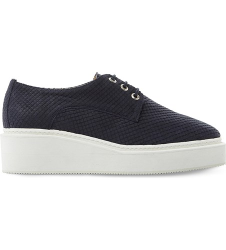 Dune Flawless Reptile Effect Leather Flatforms Navy Reptile 95PlSh58d
