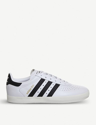 adidas 350 Leather Trainers White Black White NlxXQ