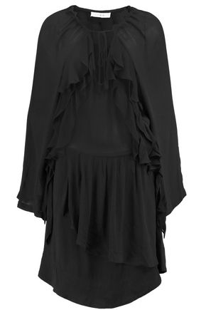 IRO Ruffled Broadcloth Dress Black mRzubB8LgA