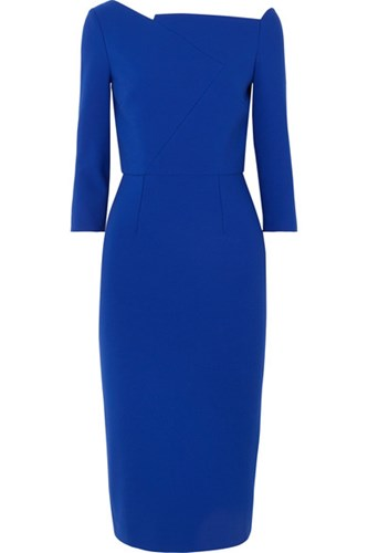 Stretch Dress Blue Roland Crepe Witham Asymmetric Mouret YqqXtB