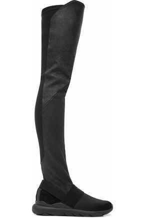 Black Boots 3 Knee And Neoprene Suede The Leather Over Stretch Y 7vq1zKwq