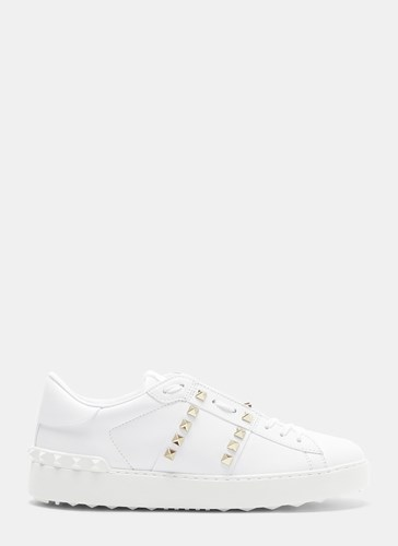 Valentino Rockstud Leather Sneakers White 7Re2a4G0