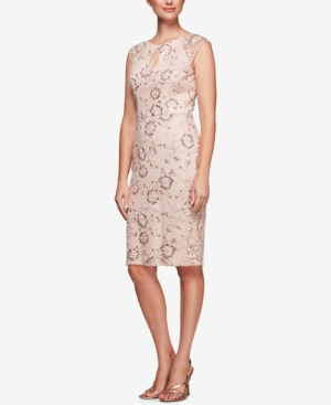Alex Evenings Sequined Embroidered Dress Pale Blush v3VXaFGhQ