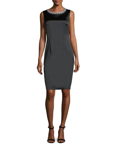 St. John Embellished Neck Satin Cocktail Dress Black NeYkc0b7